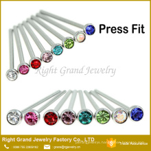 Wholesale Fashion Stainless Steel Crystal Nose Studs For Women