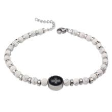 Woman Men Stainless Steel Turquoise Tiger Eye Beads Sideways Cross Disc Charm Religious Bracelet