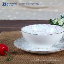 Seleccionado de porcelana fina de cerámica de color rosa flor hueso China taza de café y platillo Set