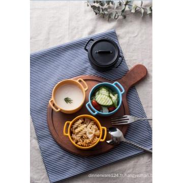 Plat en mélamine avec poignée / bol en mélamine avec couvercle (QQ15211)