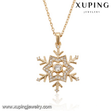 43974 xuping jewelry fashion necklace 20 inch elegant snowflake type white diamond gold plated women jewelry necklace