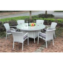 Mesa de comedor y silla de mimbre grandes de mimbre al aire libre del jardín de la rota
