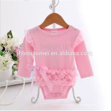 Baby-Spielanzuglieferant des Soem-Designs erwachsener langärmelige rosa Farbe gekräuselter Spielanzug mit Bogen