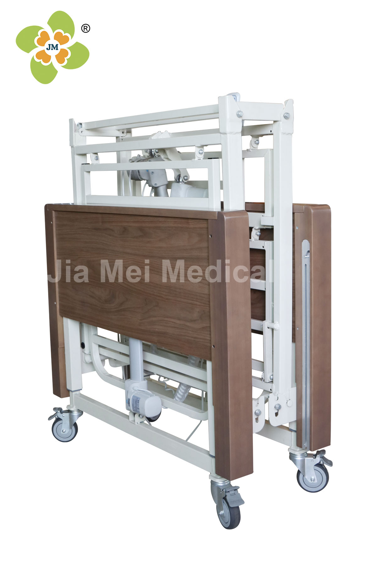 Profiling bed with wooden side rails