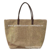 2014 fashion women's paper straw handbag in gold foil, suitable for beach outing