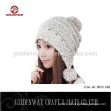 Großhandelsheiße Verkaufs-Pelz-Bobble Mädchen-Beanies strickte Hüte strickte Wolle-Winter-Mütze-Hüte