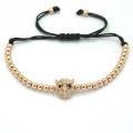 Bracelets hommes mode, tête de léopard perles & 4 mm Silver ronde perles tressées Macrame cFor américain européen hommes