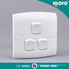 Igoto E301 Best Selling 3 Gang Toque Interruptor De Parede Do Hotel