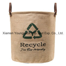 Custom Recycle Design Natural Top Handle Jute Laundry Storage Basket