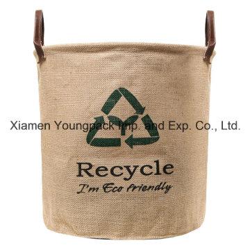 Custom Recycle Design Natural Top Handle Cesta de almacenamiento de lavandería de yute