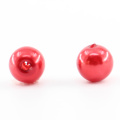 Perla roja redonda de las gotas rojas del agujero de la venta directa de la fábrica para el arte del clavo