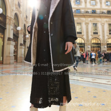 Winter Reversible Mink Cross Fur Overcoat Lady