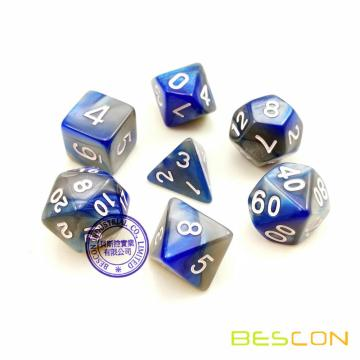 Bescon High Quality Two-tone RPG Dice Set Blue and Silver