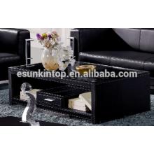 Mesa de café modesta mesa de madera de cuero