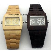 Relógios de pulso de madeira do movimento duplo dos homens da qualidade