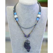 Мода природный камень гематит ожерелье ювелирные изделия