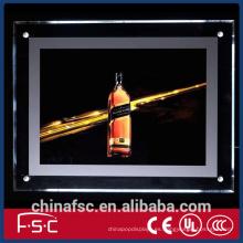 A0-A4 sola cara llevó marco de cristal de la caja de luz