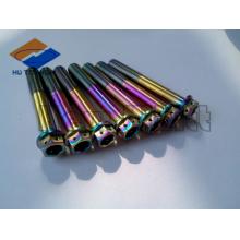 colorful titanium flange head bolt with safty holes