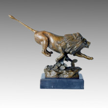 Statue animale Lion Rushing Bronze Sculpture, JL Gerome Tpal-103