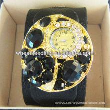 Преувеличенные роскошные модные кожаные наручные часы с горным хрусталем для женщин WW44