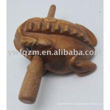 Juguetes musicales de madera de rana