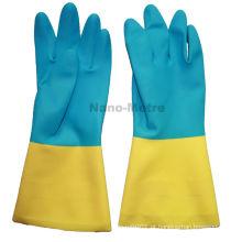 NMSAFETY luva industrial neoprene azul e yellov flocklined