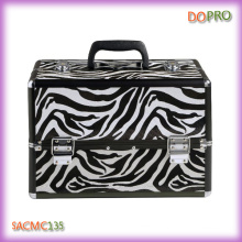 Black Zebra Pattern Hard Shell Aluminum Beauty Case (SACMC135)