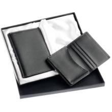 Leather Giftset de titular de pasaporte / titular de la tarjeta (GF-002)