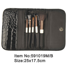 5pcs plastic handle animal/nylon hair travel brush set with crocodile skin PU folder