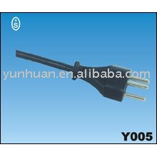 Ac power cord cable Qiaopu wire plug brasil type Uciee approval