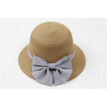 Decorated with large striped fabric bowknot paper straw hat custom summer outdoor sunhat high quality custom size