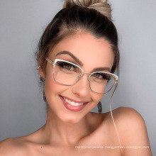 Trendy spectacle frame two-color flat lens female Amazon metal anti blue light spectacle frame can be equipped with myopia glass