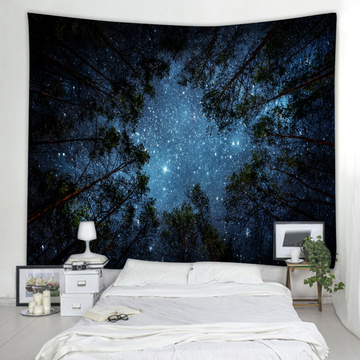 Starry Tapestry Wall Hanging Galaxy Night Sky Wall Tapestry Forest Tapestry Wall Hanging Tree Wall Art for Living Room Bedroom D