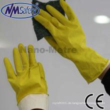 NMSAFETY Haushalts-Latex-Handschuh mit Schwamm-Liner lange Manschette Reinigung Latex-Handschuh