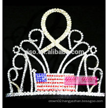 yiwu factory best design crystal flag with gold ribbon rhinestone tiara