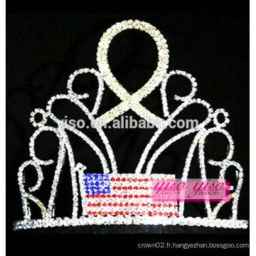Yiwu fabrique le meilleur drapeau de cristal de conception avec le tiare en rhinestone ruban doré