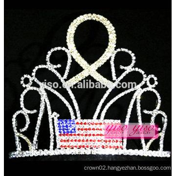 yiwu factory best design crystal flag with gold ribbon rhinestone tiara