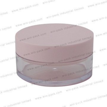 Mini Round Clear Plastic Make up Compact Powder Case with Pink Cap