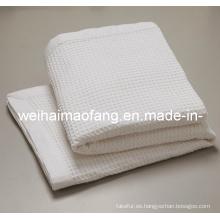 Waffle tejido tejido 100% algodón Virgen Hotel manta