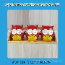 Симпатичные три совы форме керамических хранения банку для кухни