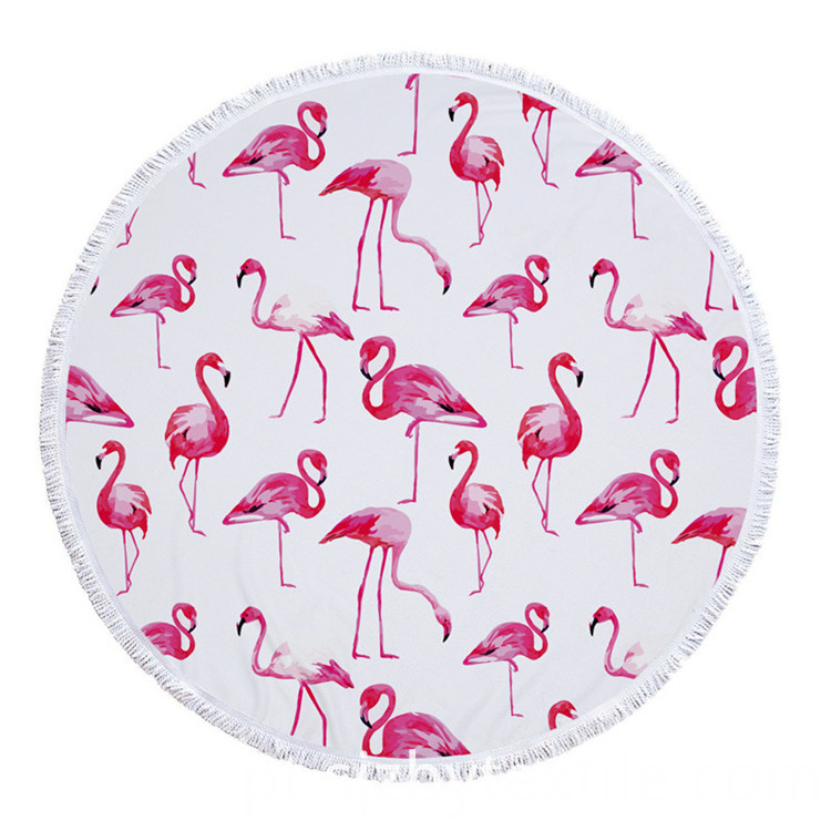 Pink And Blue Flamingo Round Beach Towel