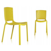 Muebles de plástico amarillo sillas de restaurante apilables