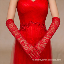 Fashion red lace appliques long-full high quality wedding lace gloves
