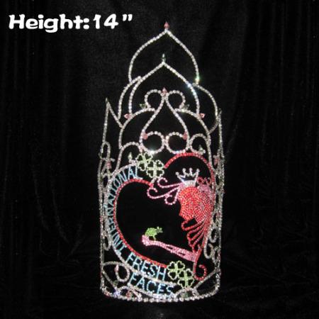 14in Altura al por mayor Crystal International Fresh Faces Pageant Crowns
