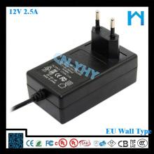 Ul aufgeführt dc Adapter 12v 2.5a Wechselstromadapter Aufladeeinheit Hochspannungs-Gleichstrom-Versorgungsmaterial 30w