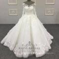 Кот 3D цветы элегантный ручной работы бальное платье V-образным вырезом с длинными рукавами свадебное платье