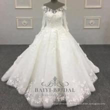 Vestido de boda hecho a mano elegante con cuello en V de manga larga de marfil 3d flor