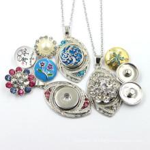 Popular em forma de folha pingente com botão snap jóias