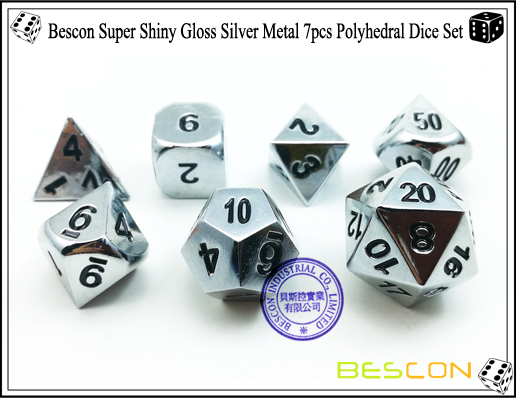 Bescon Super Shiny Gloss Silver Metal 7pcs Polyhedral Dice Set-4