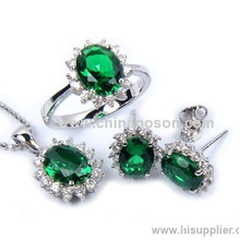 Emerald Jewellery Set With Ring Earring And Necklace